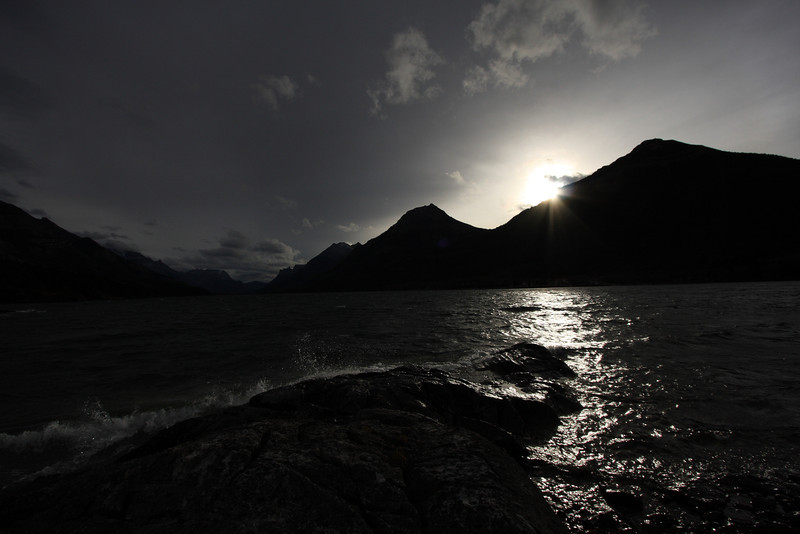 Waterton lake, AB late afternoon, photo taken from below the Prince of Whales hotel on the waterfront