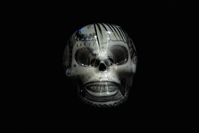 A long exposure on a sugar skull with a pull focus