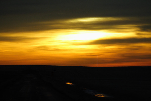 Lonely powerline at dawn, on the prairie south of Eston, Sask