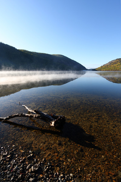 Mist on Conkle lake, BC, on a brisk October morning