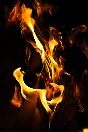 Flames dancing in the fireplace