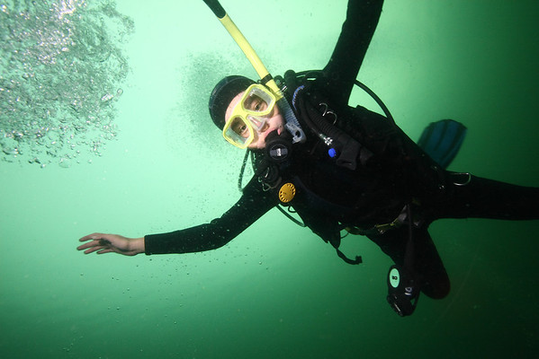 Local diver having a lot of fun with weightlessness