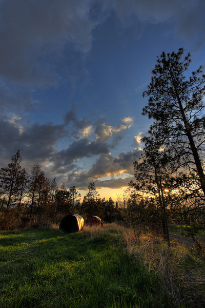 HDR (High Dynamic Range) composite image of the neighbour's orchard at sunset, Kelowna BC