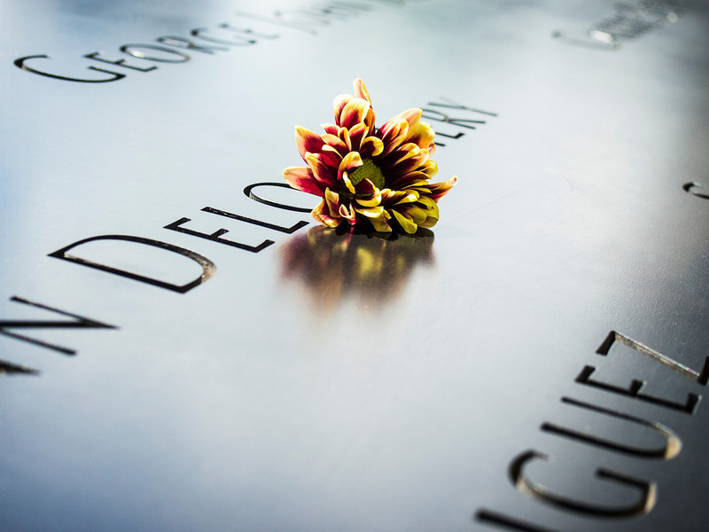 A single flower that is left by someone's name at the 9/11 memorial in New York City.