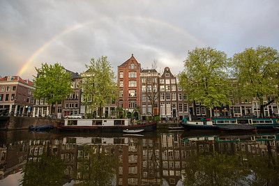 Rainbow over canals, Amsterdam