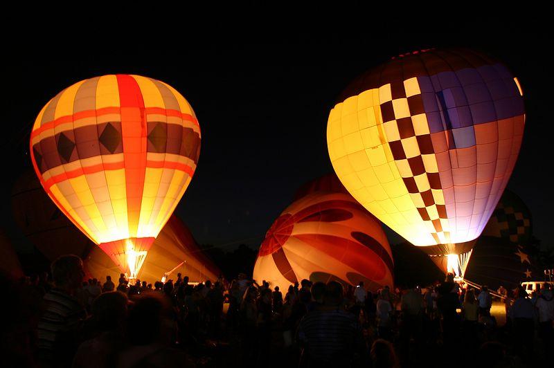 """Balloon Glow."" Taken at the 2004 Baton Rouge Hot Air Balloon Festival Championship."