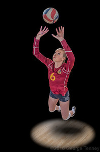 Volleyball athlete photographed on location at Court One in Tempe, Arizona. Retouching from the George Tenney Studio in Tempe, Arizona.