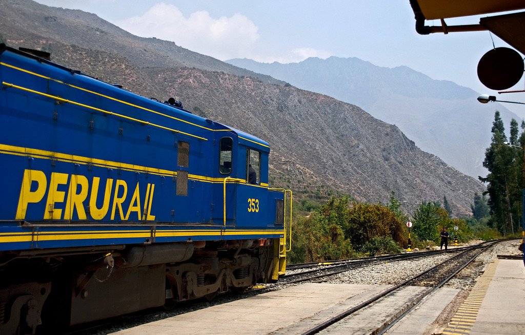 Perurail train traveling to Machu Picchu
