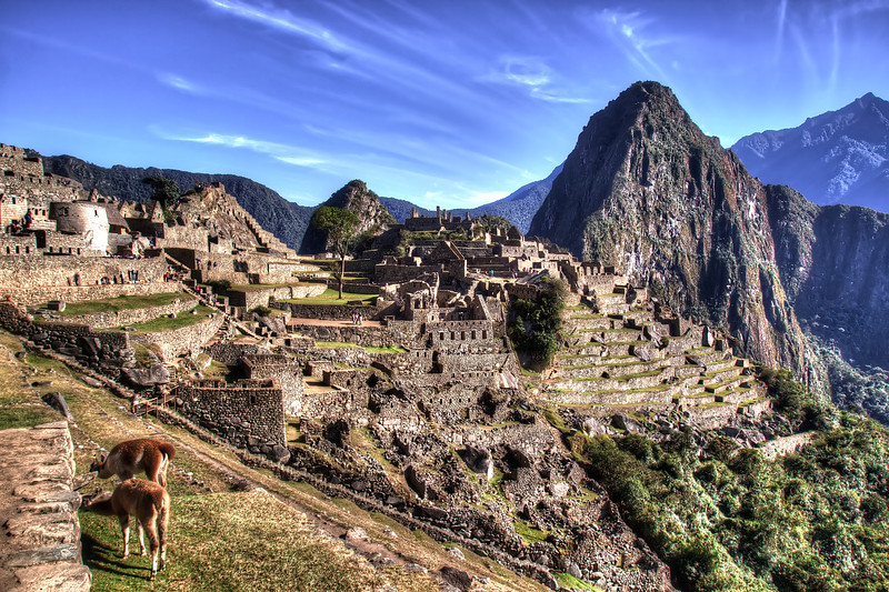 Temple of the Sun at left, prisoners area in midddle and waynapicchu on the right