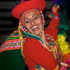 Dancer in Peru, wearing traditional colors