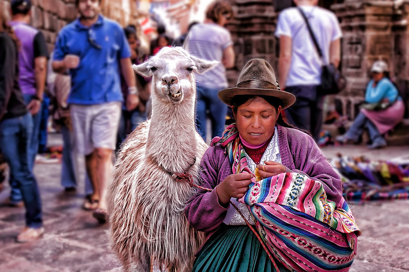 As I was walking around Cusco I couldnt help but photograph this lady with her Lama. The Lama perked up when it saw my camera as if it was ready for a photo shoot. or maybe ready to eat my camera...