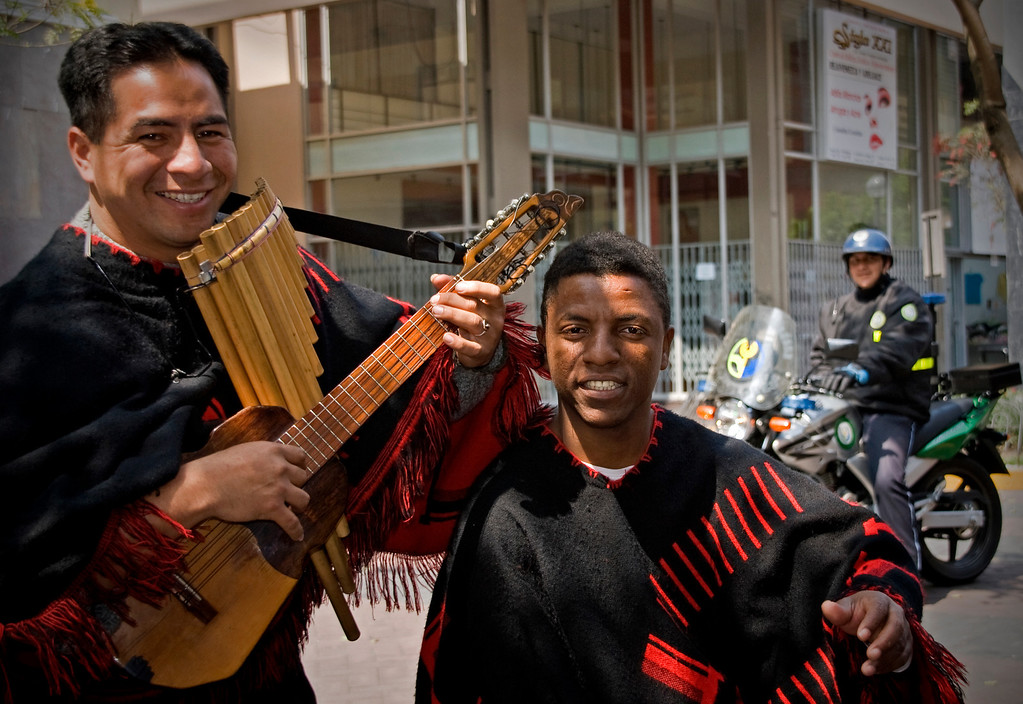 Lima, Peru street musicians with police watching