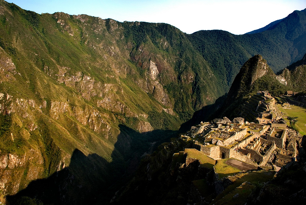 Morning shadows, Machu Picchu, Peru, South America