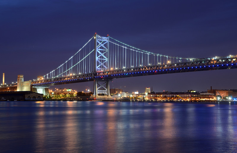 Ben Franklin Bridge at dusk