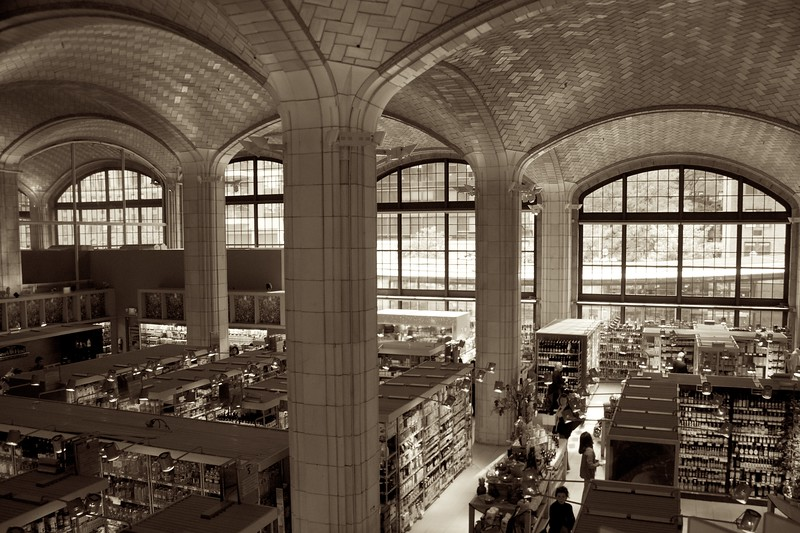 Day 049 -Here is probably the most beautiful grocery store I have ever been in.  It is built into the Queensboro bridge and is just fun to wonder in.  However, don't go with a list because it was hard to find things.  I guess it's just a bad layout.  Side note; I  chose a sepia treatment on this one.