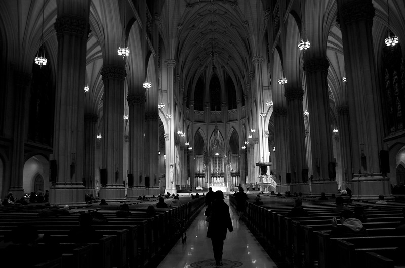 Day 185 -It's Ash Wednesday, so I thought I would go to the most Catholic place I could think of in the western hemisphere.  St. Patricks Cathedral.  Today marks the beginning of Lent and although I'm not Catholic, I still obseve Lent as part of my Protestant faith.  So I'm giving up sweets until Easter.  On a more relevant note I'm giving up color.  So until Easter the photos will be black and white.  Lastly this one goes out to all my Catholic fans.