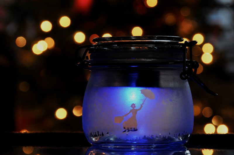 Day 093 -I was luck to be able to visit my friend Heather and her son Piper in NJ today.  She was showing me some Christmas gifts she's been making.  One of which was this etched jar with a solar powered light inside.  I just thought it was really cool and when set in front of a Christmas tree it made for a nice shot