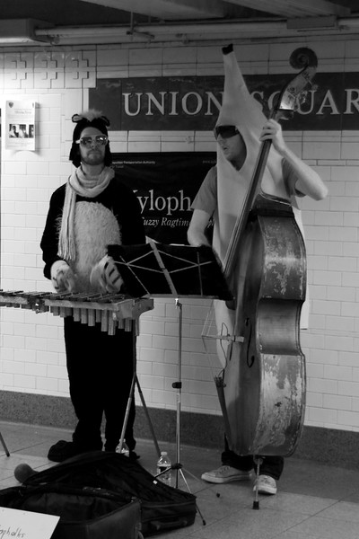 "Day 222 -It was one of those days where you see something fairly normal, and at the same time say, ""Only in New York.""  I mean seriously, who uses a chrome music stand these days.  Giving up color for Lent."