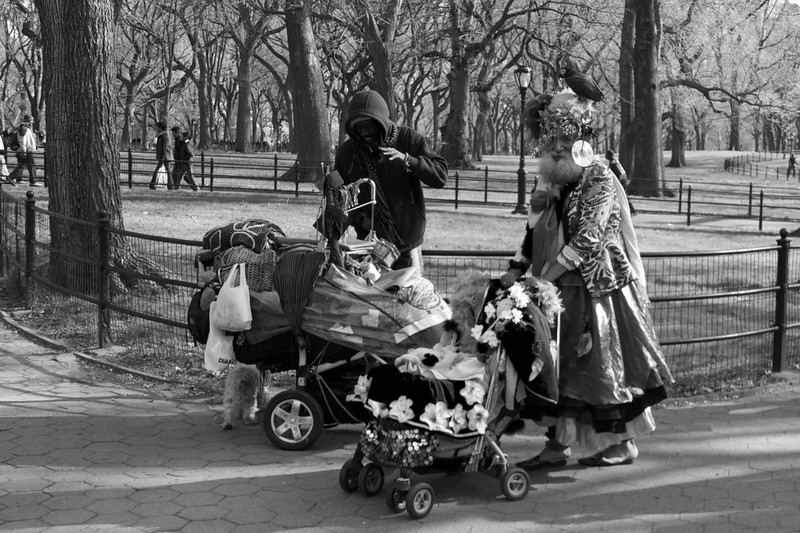 """Day 224 -I call this, """"battle of the crazy guys wiith strollers.""""  This is really the first photo I wish could have been in color.  Why?  Because there was a lot of it with these two fellas.  Giving up color for Lent."""
