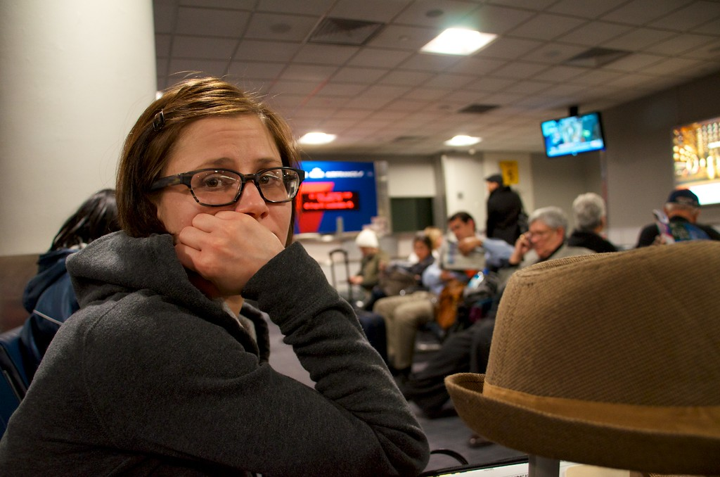 Day 172 -Guess who's flight got cancelled?  Then we had to catch a later flight getting us in at 11:00.  Due to traffic our ride was an hour late to get picked up.  Poor Christina.  She hates traveling as it is, but she's still cute as a button.