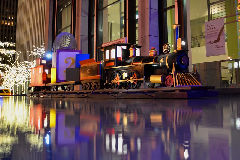 Day 108 -So this train set is just across the street from gian lights.  I photographed both tonight and liked this the best.  I got a new back up camera, and this is its photo-a-day debut.  Not too bad.