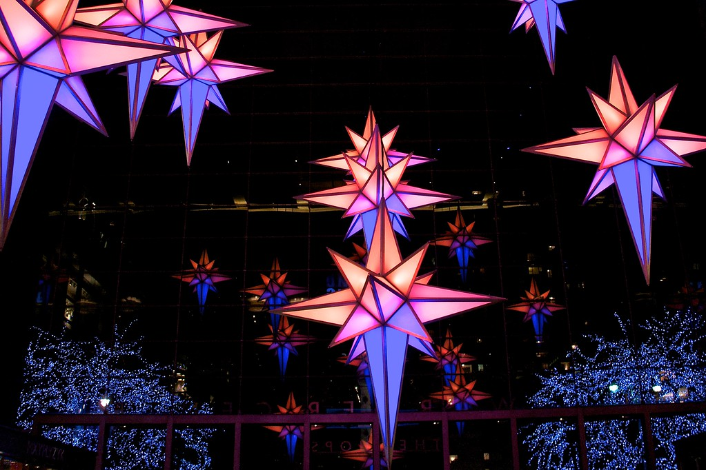 Day 102 -So this is the lobby to my local grocery store.  What's yours look like?  We often go to the busiest Whole Foods in America located here in the Time Warner Center (see day 050.)  Anyway they have these beautiful stars that change colors to Christmas music.  It's almost enough to distract you from paying way too much for your groceries.