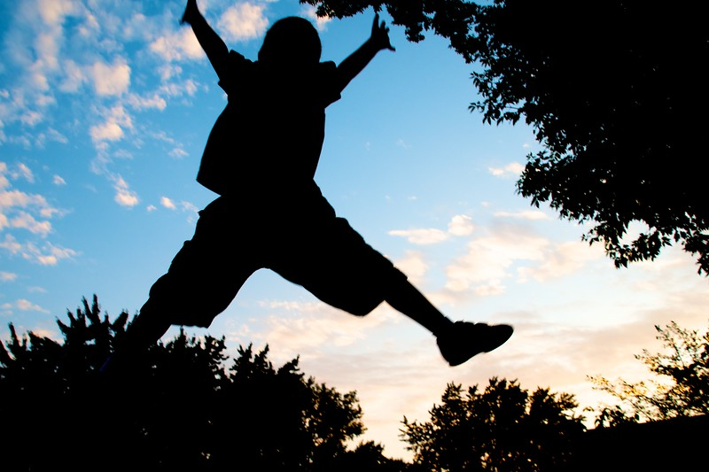 Day 292 -When the sun is going down and kids are on a trampoline.  Well it just seems like a no-brainer.