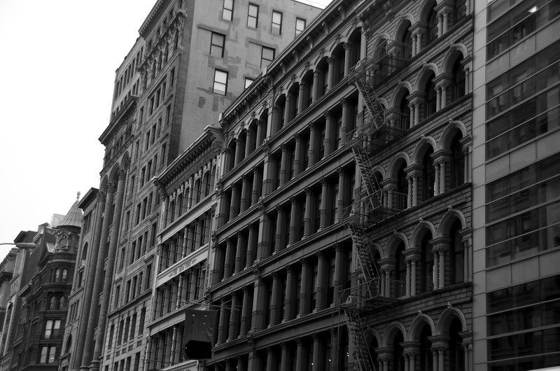 Day 225 -What do you get when you mix trendy stores with old buildings?  SOHO.  Giving up color for Lent