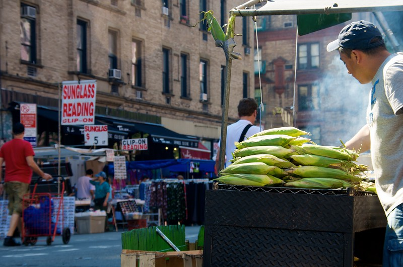 Day 014 -Christina and I were walking home and found a street fair.  The roasted corn caught my eye.  Roasted corn is always so good, in retrospect I should have gotten some.