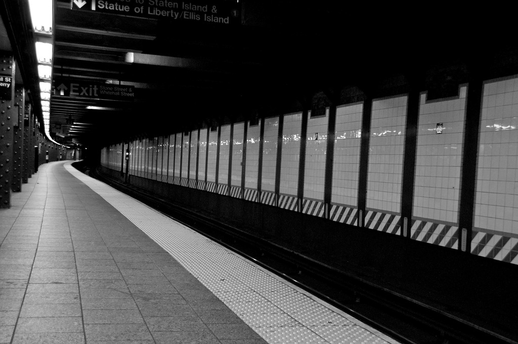 Day 077 -There's something about an empty train station that is appealing for photos.  The train that goes to the boat took a while to arrive.