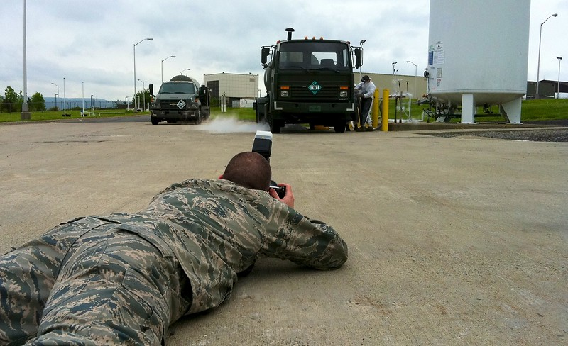 Day251 -Today I had to say goodbye to some great people at the 105th and my captain.  Here Tech Sgt. Lee Guagenti gets down and dirty photographing the fuel guys filling a truck with liquid nitrogen.  Special thanx to the 105th Public Affairs for putting up with me for the last few years.