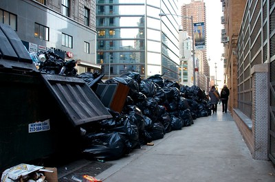 Day 120 -After the blizzard hit NYC the garbage didn't get picked up for a few days.  So this was just one of many piles I saw today.