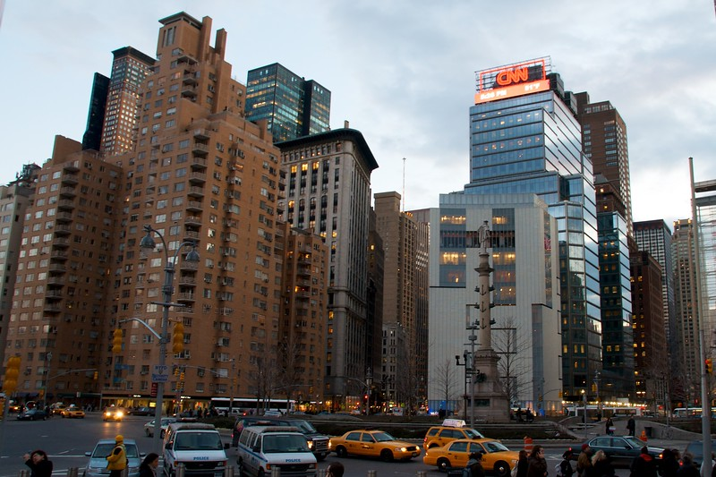 Day162 -A busy afternoon at Columbus Circle.  It warmed up here today even more, but I have no idea what the temp was.