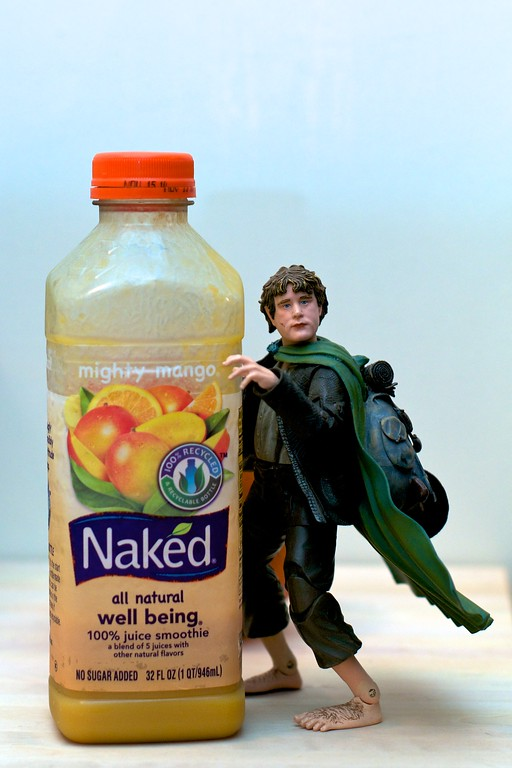 Day 051 -Samwise loves to get naked.  If you feel you're getting sick or are sick, get naked.  The well being will cure you quick.  Most of all it tastes great and is made of pure fruit.  Except for the carrot juice, not as good as the others.  I've been craving juice for a couple of days and decided on this.  I wish I was getting money for product placement.