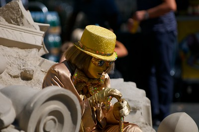 Day 020 -I believe this is Mr. Wonka Goldfinger.  He was sitting just outside the park collecting money while people took their photo with him.  I'm thinking about a new career.