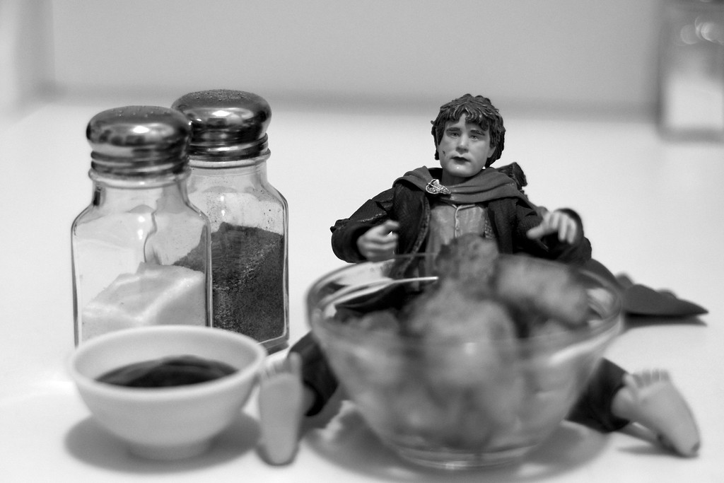 Day 202 -It's Sam's black and whit debut.  He's given up sweets for Lent so he's been eating a lot of tater tots.  However, Sam doesn't like his supds with ketchup like Frodo.  He prefers BBQ sauce.  Giving up color for Lent.
