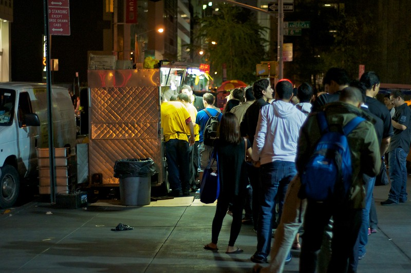 Day 024 -Here I am at the end of a continous long line for Halal, which is like a gyro but with rice.  It's awesome food, and I have my buddy Wayne to thank for getting me hooked.  If you're in NYC between 7pm - 7am go to 53rd and 6th ave.  Or visit their website www53rdand6th.com