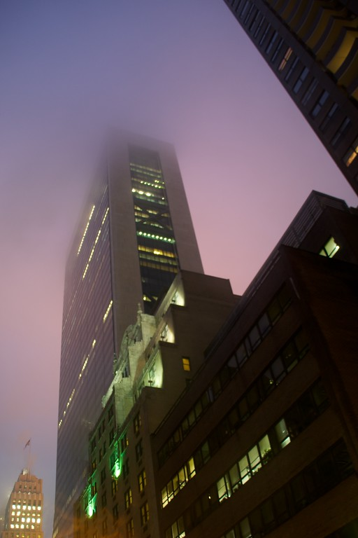 Day 135 -It was a very rainy day today.  I got pretty wet, but it left room for some cool fog.  I just grabbed the tripod and walked outside as dusk fell on Gotham.