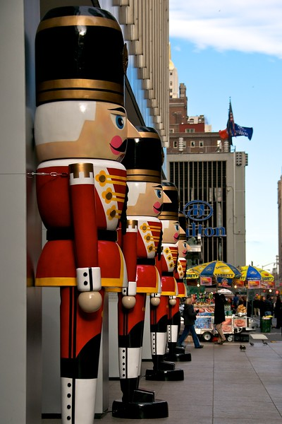 Day 103 -The Nutcracker soldiers stand guard ensureing that all New Yorkers have a great Christmas.  This photo might have been slightly better but I was talking on the phone when it was taken.  When you have a friend that won't return messages and only talks to you a couple times of year, you take what you can get.  Thanx JJ for your time I know how valuable it is to you.