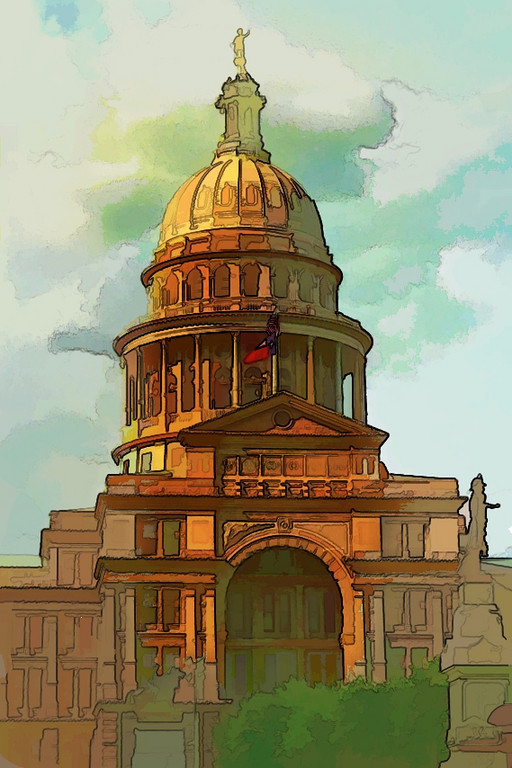 Capitol of Texas in Austin. Watercolored using Photo Art Master and Photoshop.<br /> Roberta