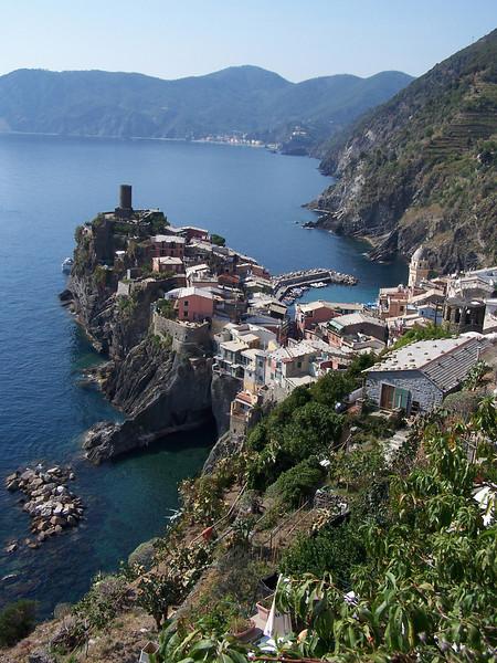 Jill - Looking down at Vernazza, Italy