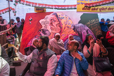 "In Shabeenag  posters, murals set up by independent artists across the Delhi in support of the  protest. Here, the signboard  says "" We all are Shaheenbag Peoplle. We do not have any discrimination""."