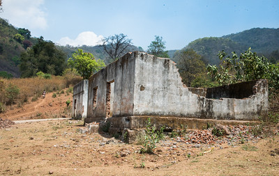 The local Dongria school which was burned during protest movements.