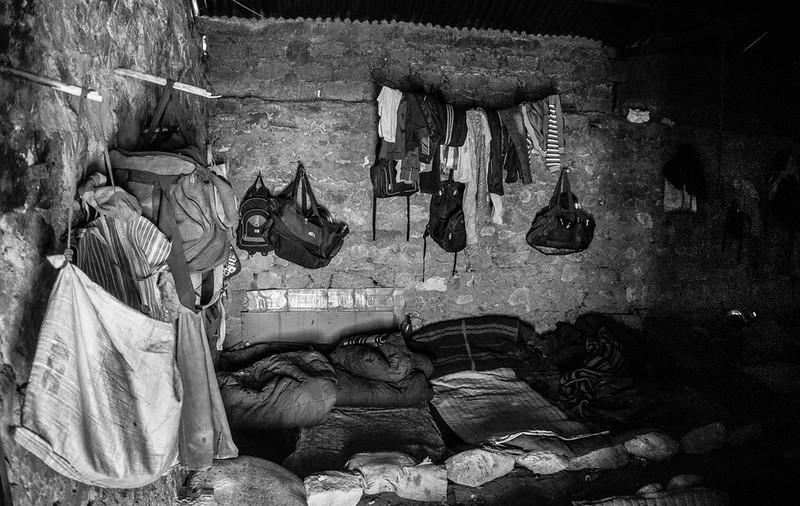 Sneak peak makeshift living area of high altitude road workers.