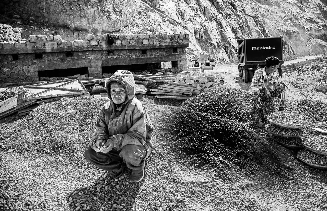 Santosh Topno, from Jharkhand, was working on building a bridge near Chumathang, and taking a short break .