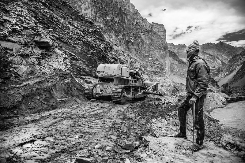Prakash Singh from Bihar observing the construction of the Leh-Nimo-Chilling-Padum highway.