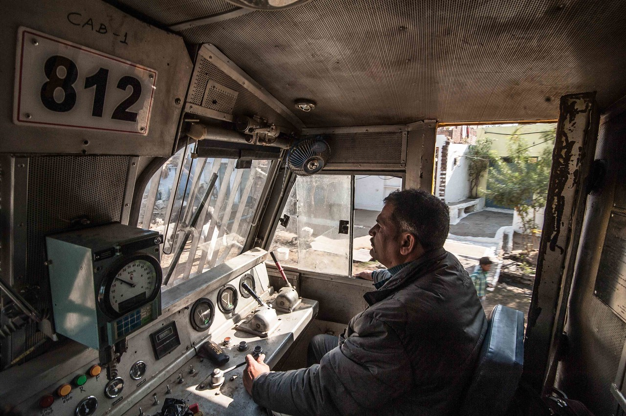 Anwar Khan drives the train for six hours from Gwalior. Then another driver takes over.
