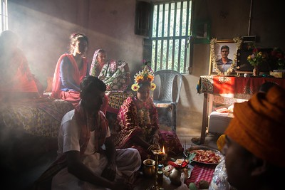 On her special day, Priyanka Mondol is going through pre-wedding rituals. It was a glorious sunlit afternoon.