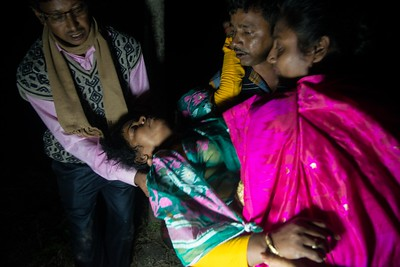 Just after the rituals, the Pushpa Mondol fainted out of the shock. Pushpa is a chronic depression patient and suffers from PTSD. Even after a year, she was unable to accept the fact her husband had been killed by a tiger.