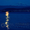 © Paul Conrad/Pablo Conrad Photography  The Harvest Moon rises near Mt. Baker east of Bellingham, Wash., as seen from the Lummi Reservation on Lummi Shore Drive.